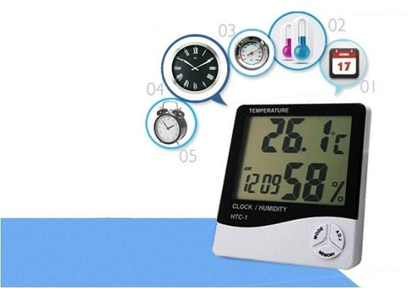 Ẩm nhiệt kế trong nhà HTC-1 tích hợp nhiều chức năng khác nhau