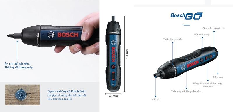 Kích thước máy bắt vít Bosch Go Gen thế hệ 2