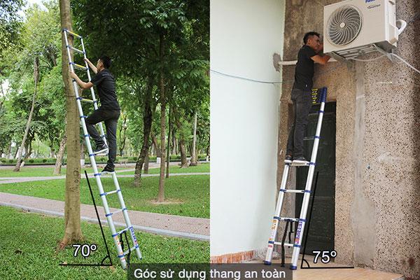 Đối với công trình lớn nên lựa chọn loại thang nhôm an toàn, tải trọng 150kg